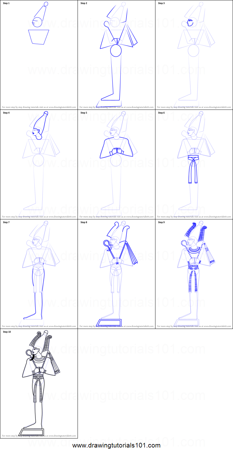How to Draw Osiris printable step by step drawing sheet ...