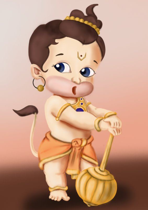 Step By Step How To Draw Baby Hanuman