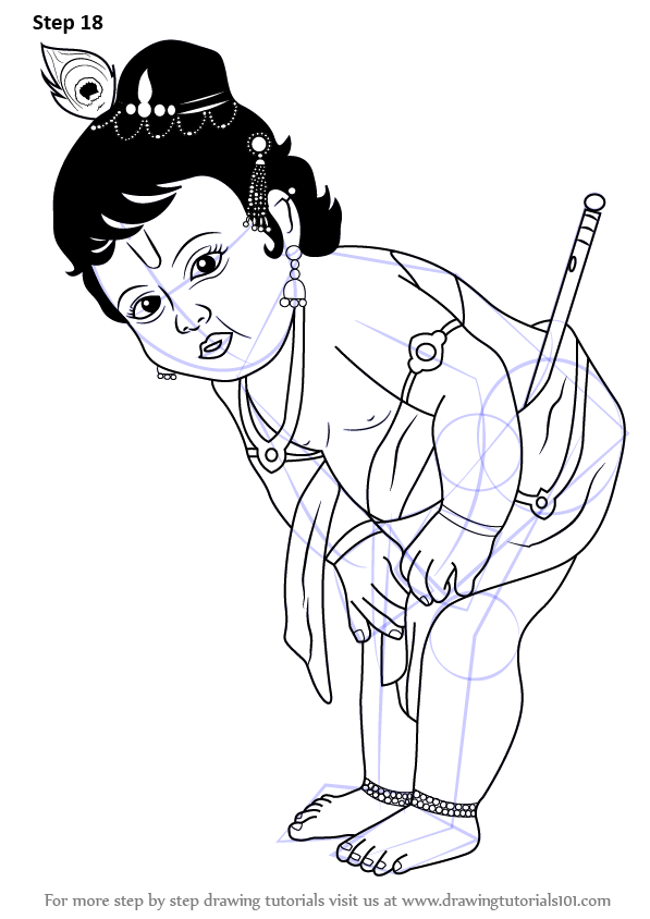 Learn how to draw baby krishna hinduism step by step drawing tutorials
