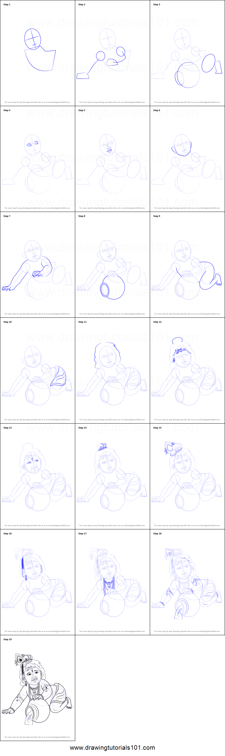 How To Draw Baby Lord Krishna Printable Step By Step Drawing Sheet