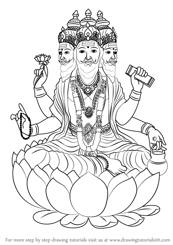 Learn How To Draw Brahma Hinduism Step By Step Drawing