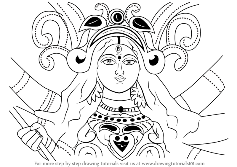 Learn how to draw durga devi face hinduism step by step drawing tutorials