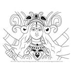 How to Draw Durga Devi Face