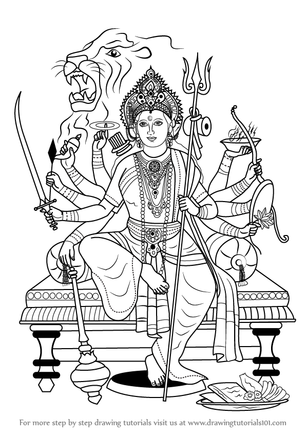 Learn how to draw durga maa hinduism step by step drawing tutorials