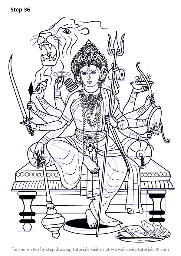Learn How To Draw Durga Maa Hinduism Step By Step
