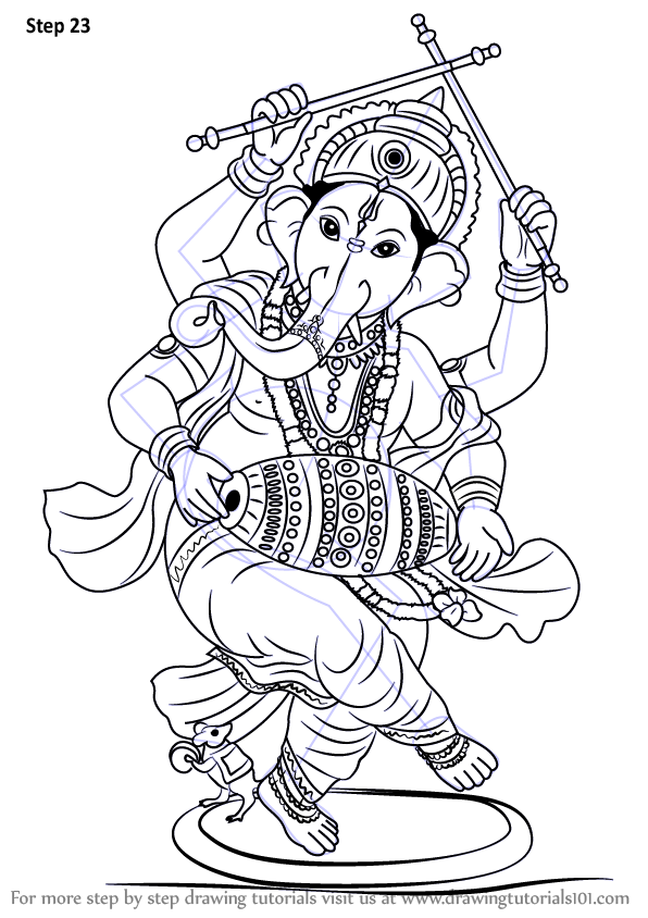 Line Drawing Ganesha : Learn how to draw lord ganesha hinduism step by