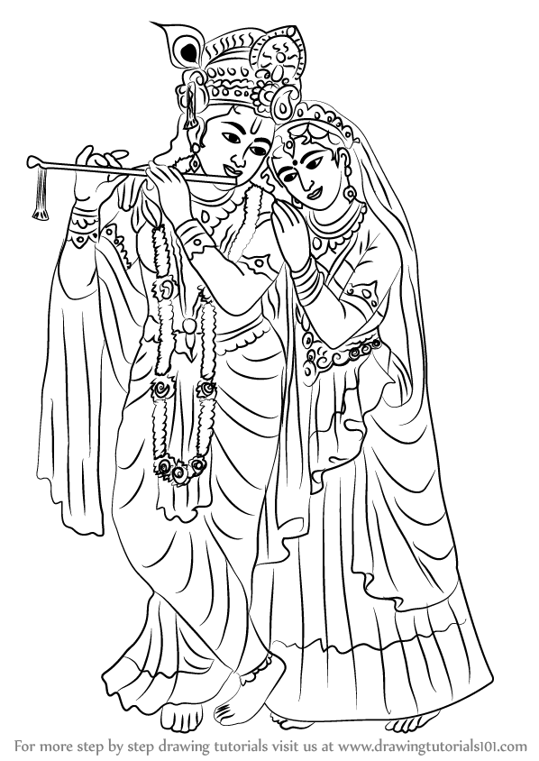 Learn How To Draw Krishan With Radha Hinduism Step By