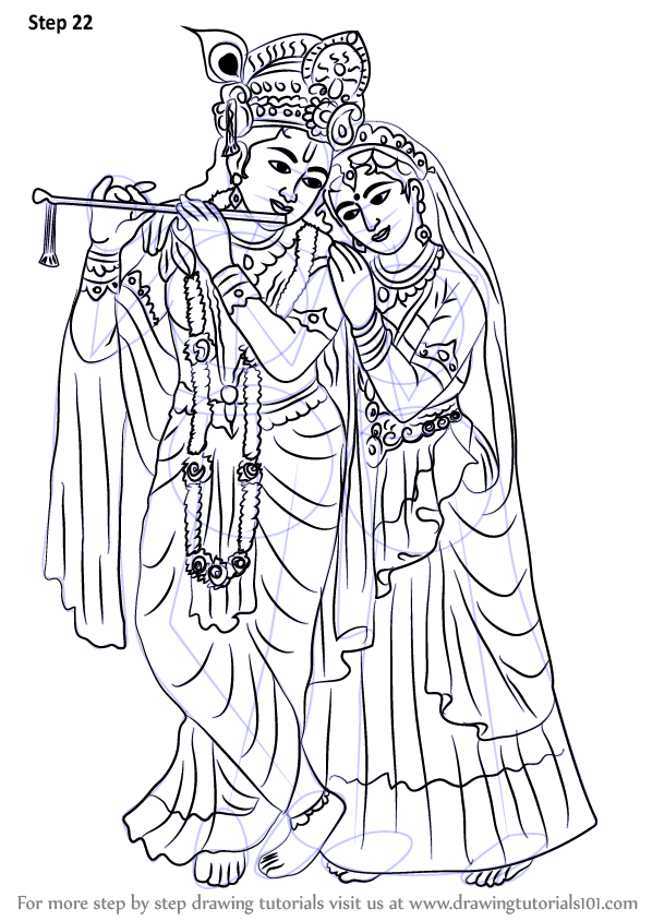 Learn How To Draw Krishan With Radha (Hinduism) Step By Step  Drawing Tutorials