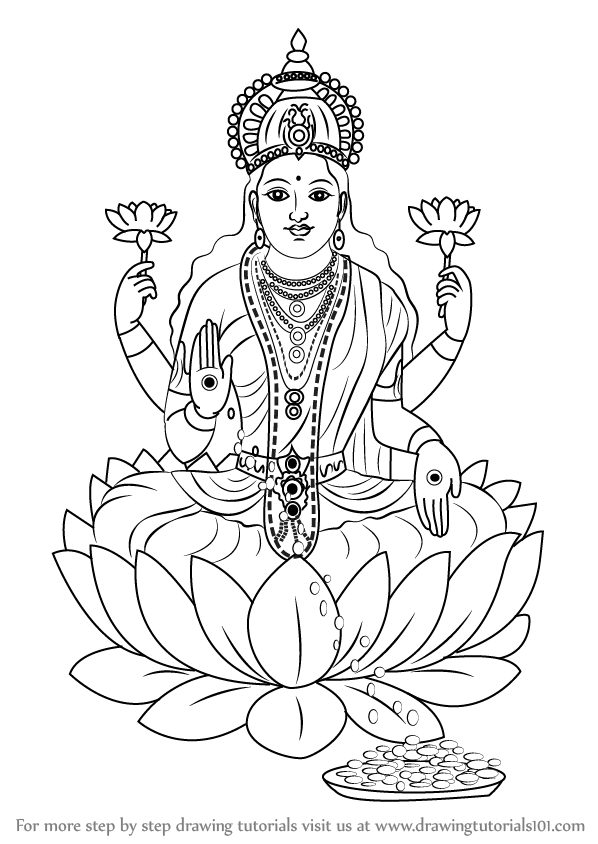 Learn how to draw lakshmi mata hinduism step by step for Lakshmi coloring pages