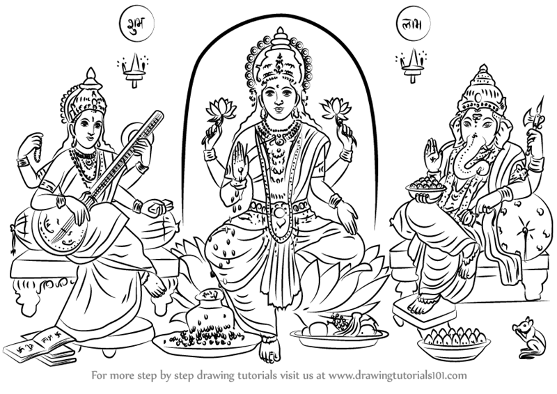 Learn how to draw laxmi ganesh saraswati hinduism step by step drawing tutorials