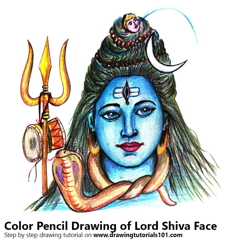Lord Shiva Face Colored Pencils - Drawing Lord Shiva Face