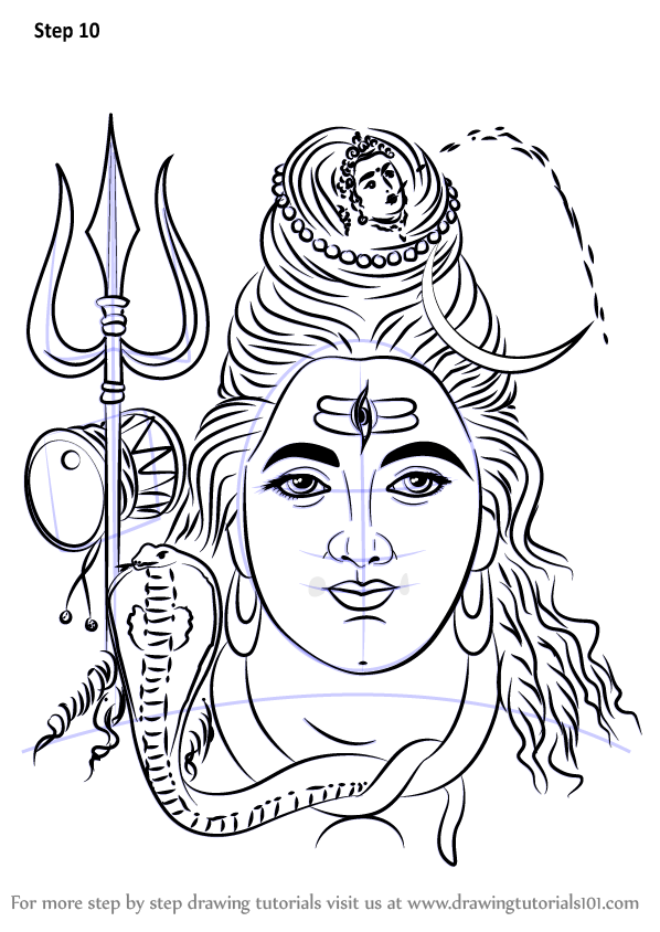 Learn How To Draw Lord Shiva Face Hinduism Step By Step Drawing Tutorials