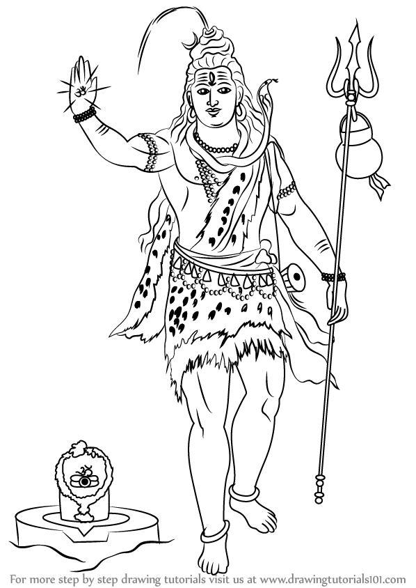 Learn How to Draw Lord Shiva Standing (Hinduism) Step by ...