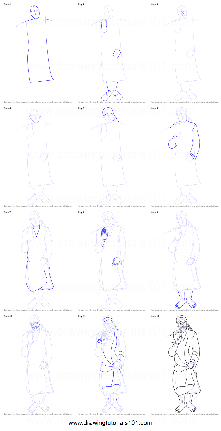 How to draw sai baba of shirdi printable step by step drawing sheet