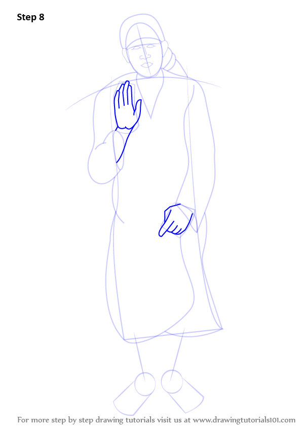 learn how to draw sai baba of shirdi  hinduism  step by