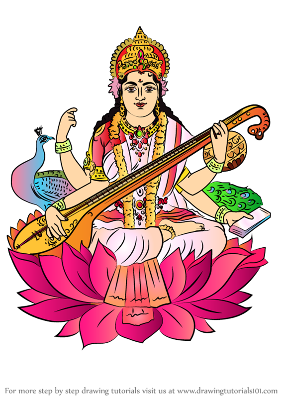 saraswati coloring pages - learn how to draw saraswati hinduism step by step