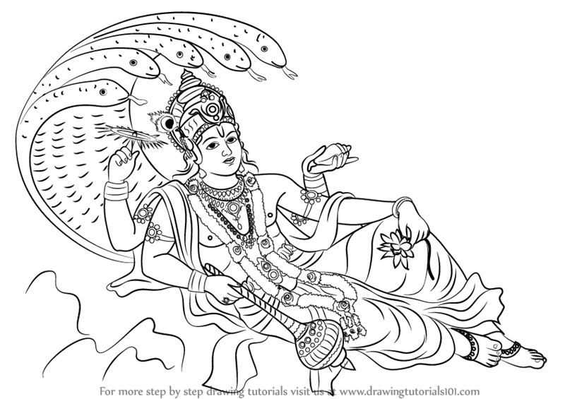 Learn How To Draw Lord Vishnu Hinduism Step By Step