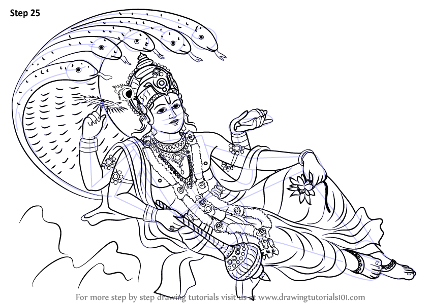 Step By Step How To Draw Lord Vishnu Drawingtutorials101 Com