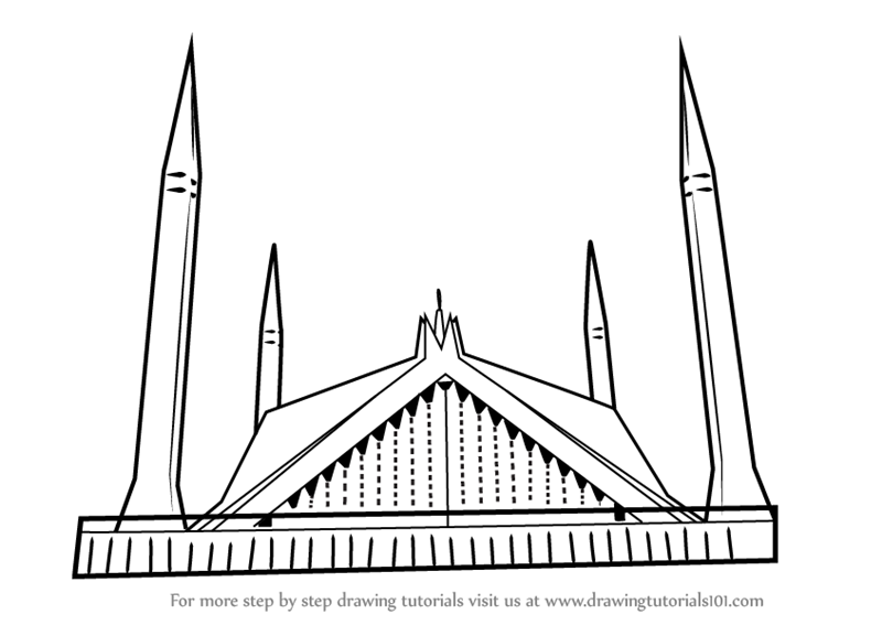 Line Drawing Of Quaid E Azam : Learn how to draw shah faisal mosque islam step by