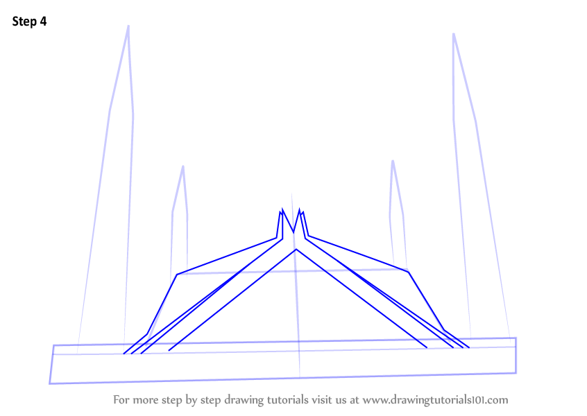 Learn How To Draw Shah Faisal Mosque Islam Step By Step