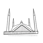 How to Draw Shah Faisal Mosque