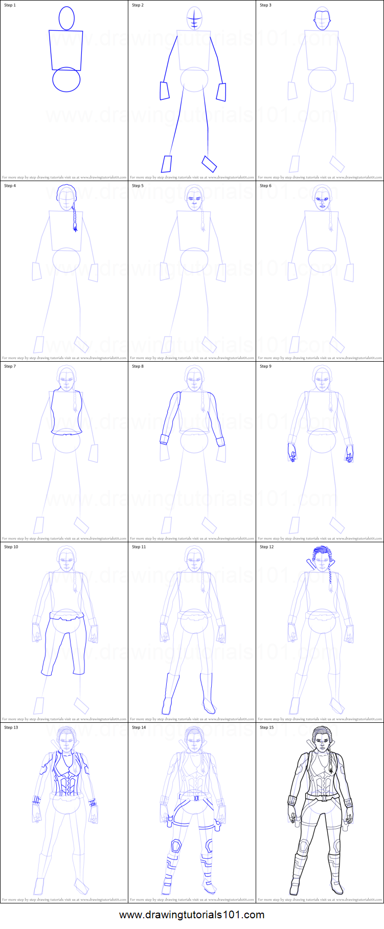 How To Draw Black Widow From Avengers Endgame Printable Step