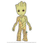 How to Draw Groot from Avengers Endgame