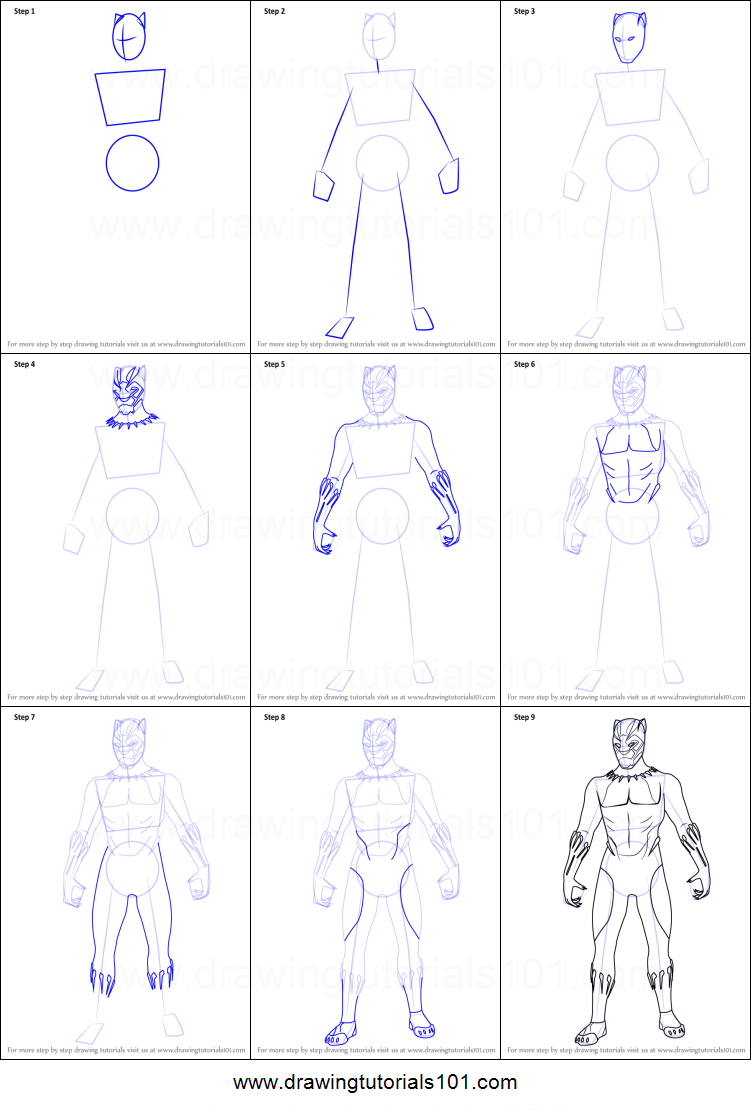 How to Draw Black Panther from Avengers - Infinity War ...