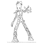 How to Draw Groot from Avengers - Infinity War