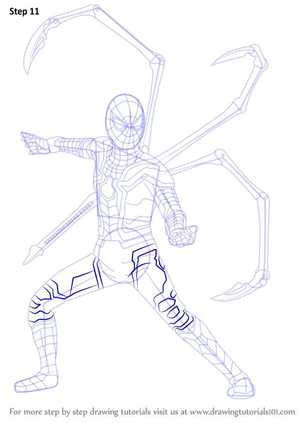 Learn How To Draw Iron Spider From Avengers