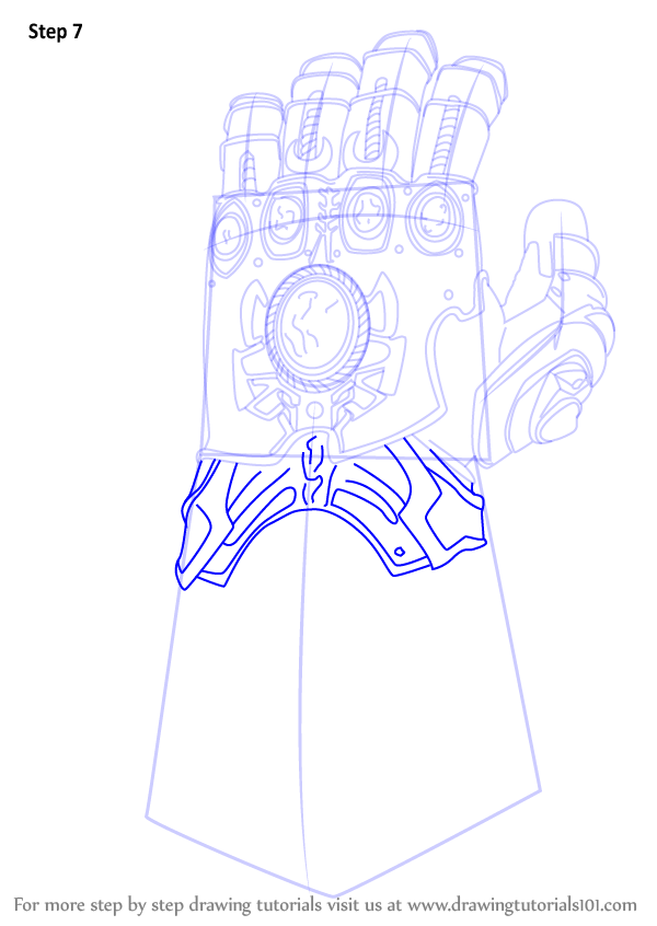 Step By Step How To Draw The Infinity Gauntlet From