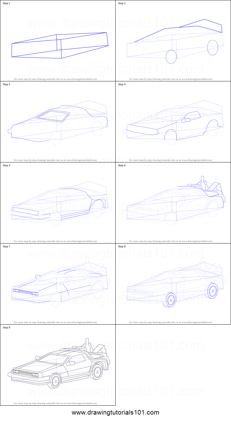 how to draw delorean from back to the future printable step by step drawing  sheet : drawingtutorials101 com