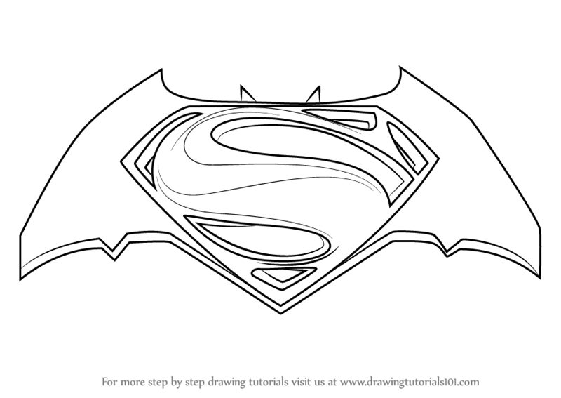 Learn how to draw batman v superman logo batman v for Coloring pages of superman logo