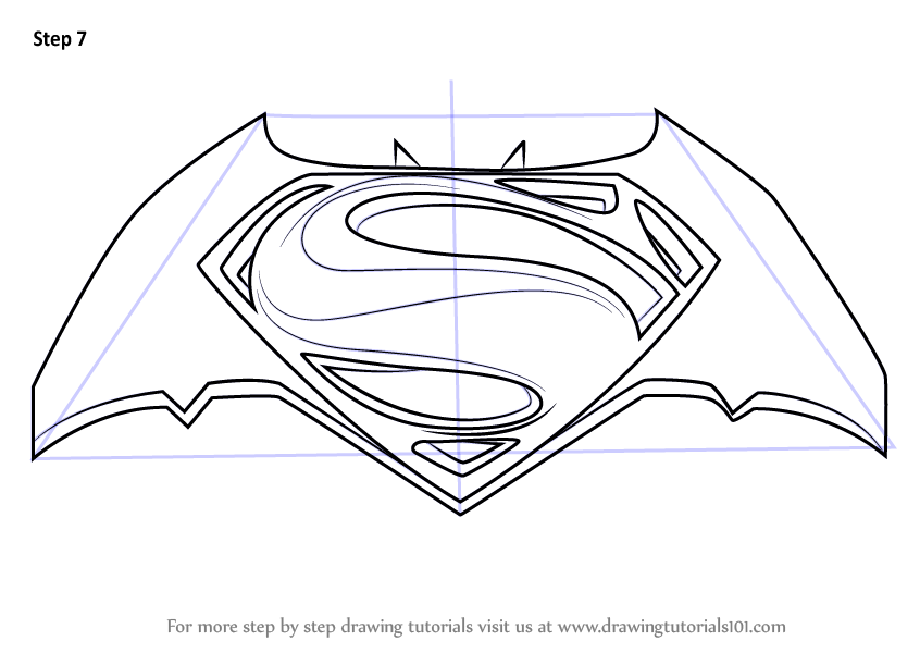 Learn how to draw batman v superman logo batman v superman dawn of justice step by step drawing tutorials