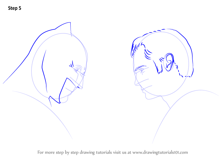 Learn How To Draw Batman Vs Superman V Dawn Of Justice Step By Drawing Tutorials