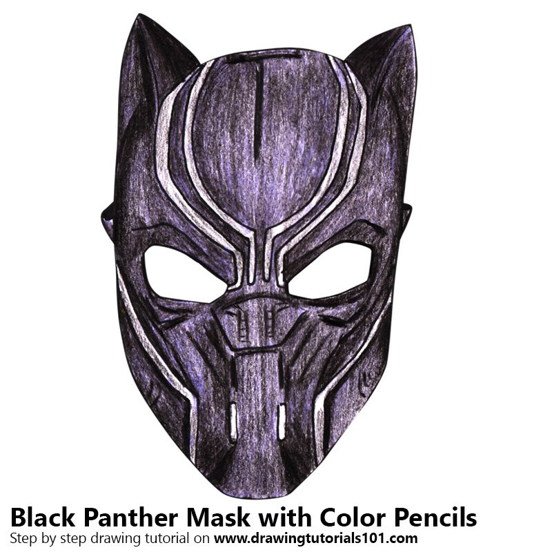 Black Panther Mask Colored Pencils