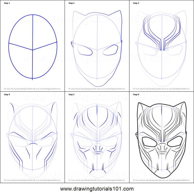How to Draw Black Panther Mask printable step by step ...