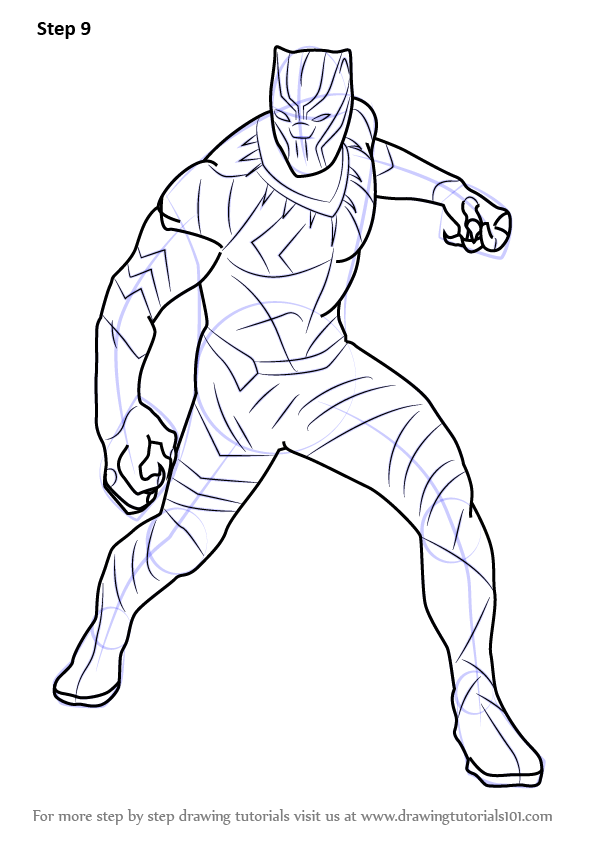 learn how to draw black panther from captain america civil war captain america civil war step by step drawing tutorials