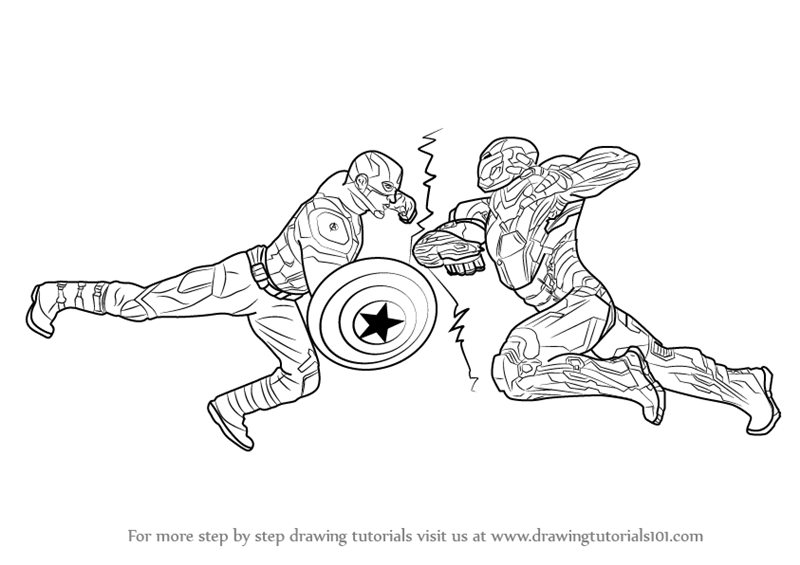 how to draw captain america vs ironman from captain america civil war