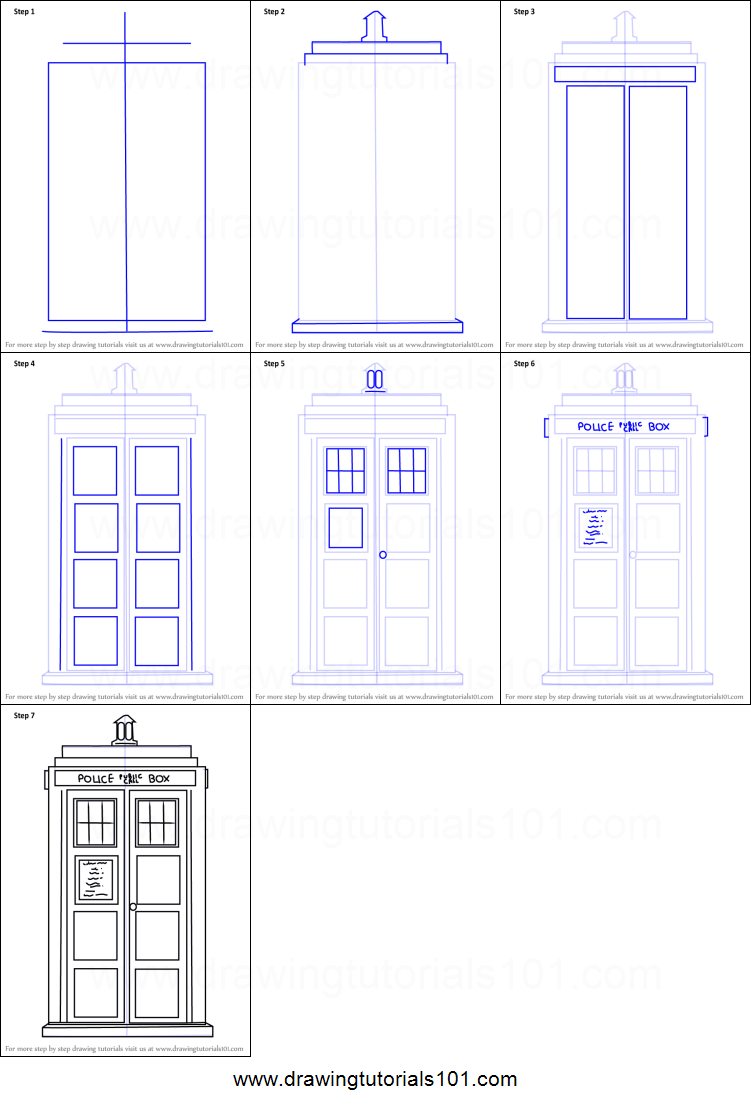 Tutorial How To Draw Tardis From Doctor Who Printable Step By