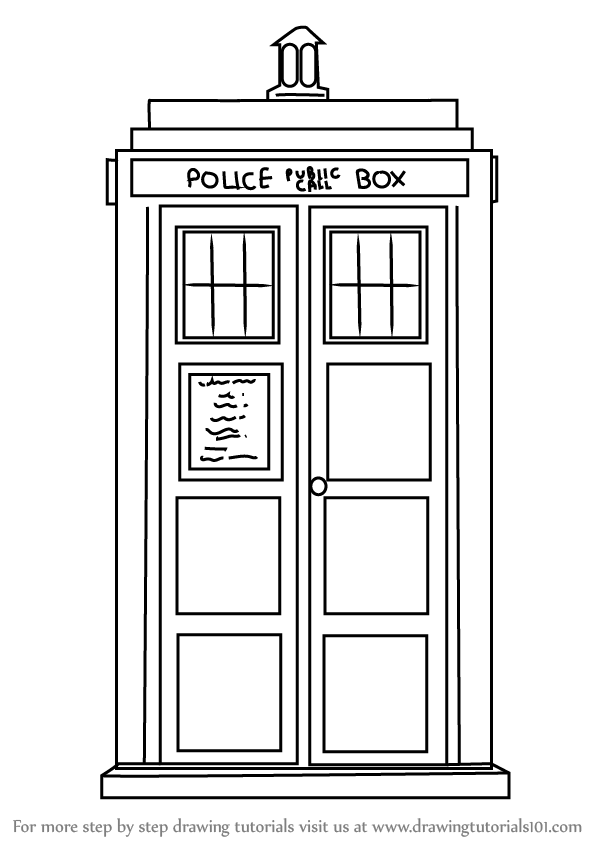 Learn how to draw tardis from doctor who doctor who step for Tardis coloring pages