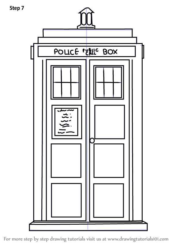 Learn how to draw tardis from doctor who doctor who step for Tardis template for cake