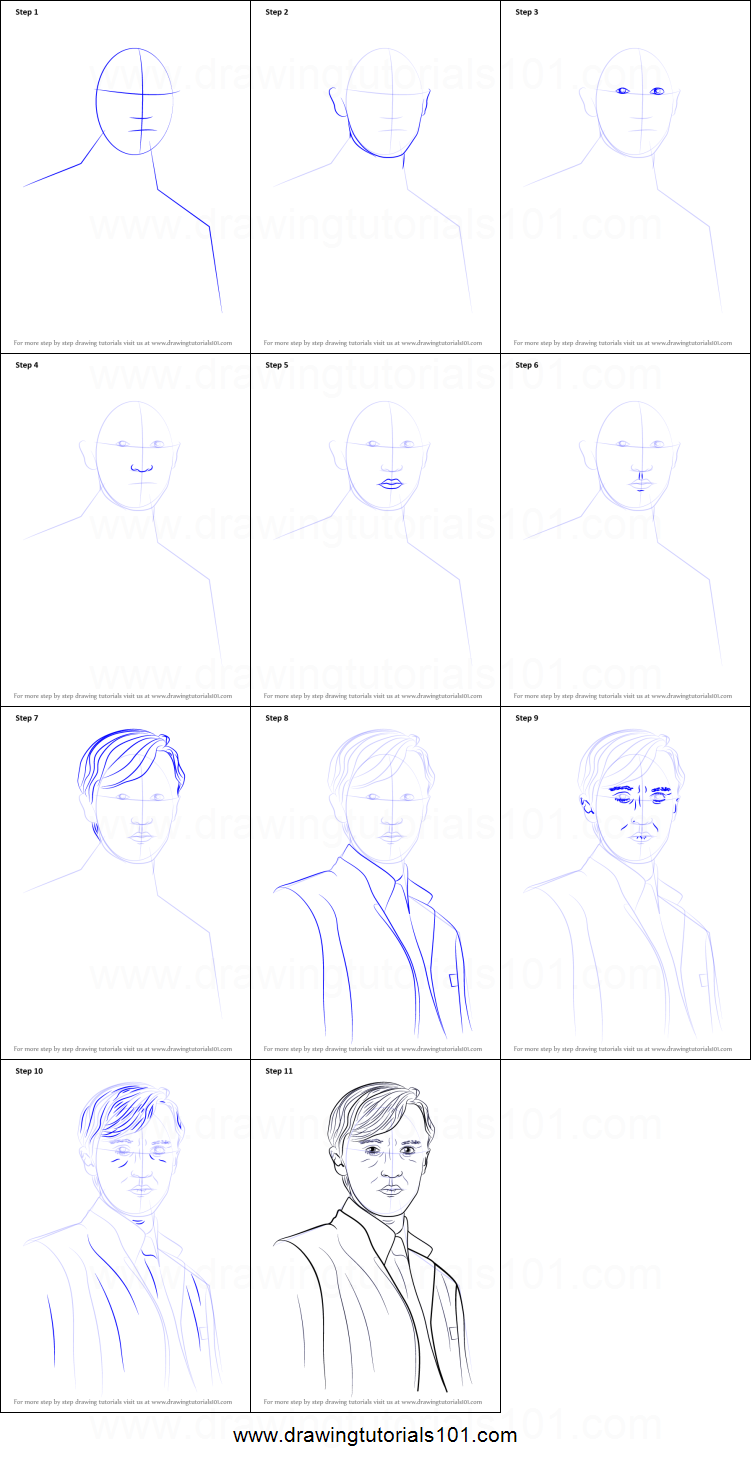 How To Draw Draco Malfoy From Harry Potter Printable Step By Step