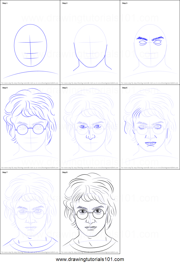 how to draw harry potter printable step by step drawing sheet