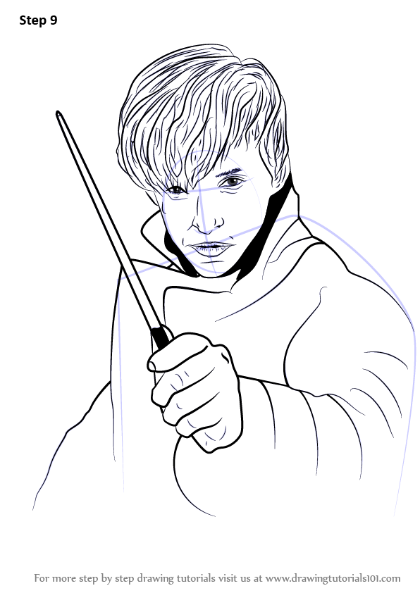 Step by step how to draw newt scamander from harry potter for Newt coloring page