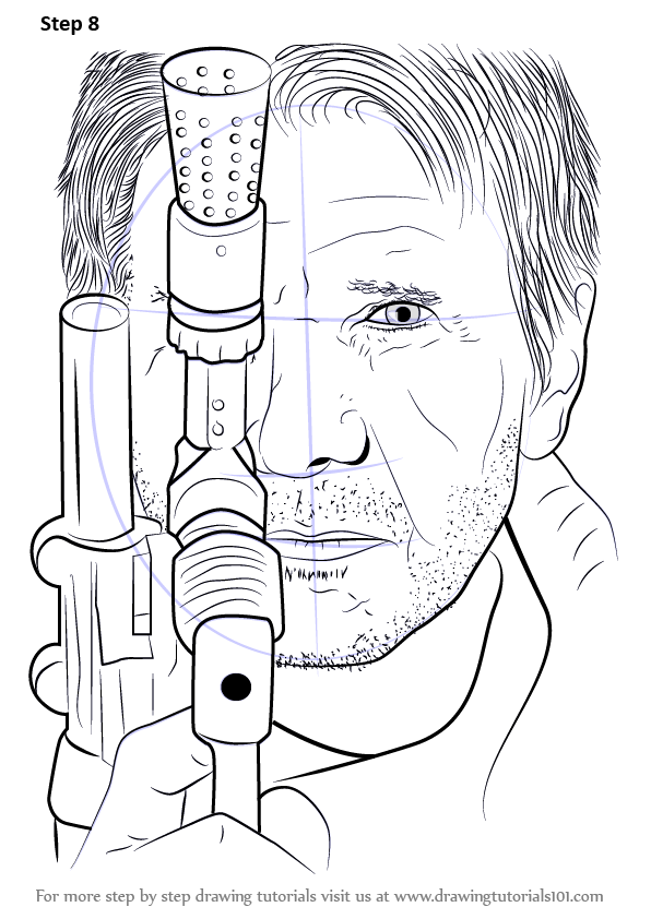 Learn how to draw han solo with blaster from star wars for Han solo coloring pages