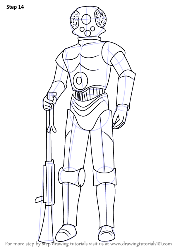 Step By Step How To Draw 4 Lom From Star Wars