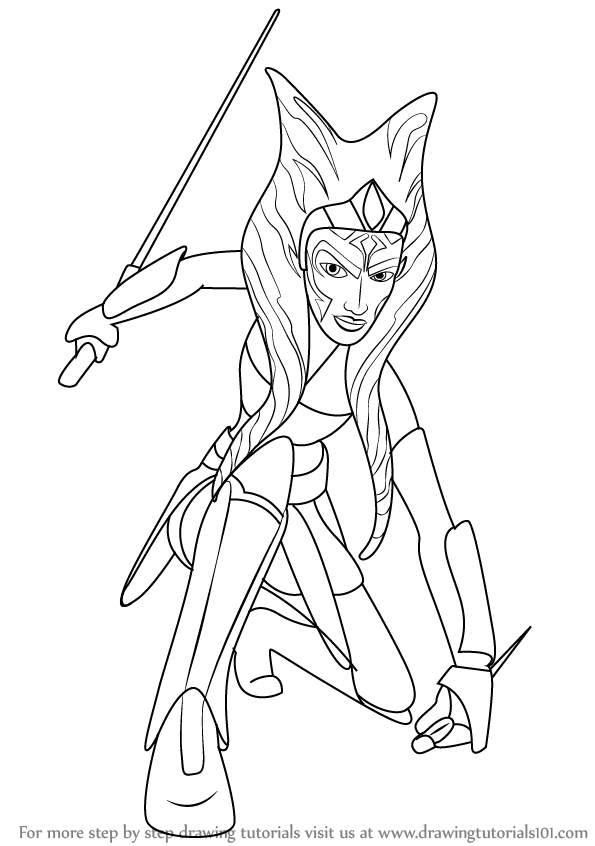 Step By Step How To Draw Ahsoka Tano From Star Wars Ahsoka Coloring Pages