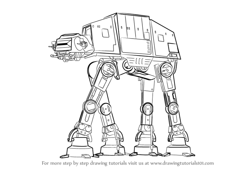 Step By Step How To Draw At At From Star Wars