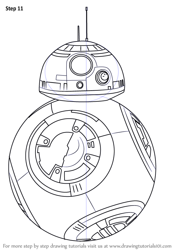 Step by step how to draw bb 8 from star wars for Star wars bb8 coloring pages
